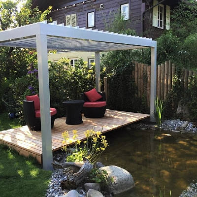 BIOCLIMATIC PERGOLA AGAVA – custom solution in cooperation with distributer. SWITZERLAND. Production & supply.