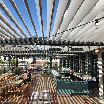 PROJECT RESTAURANT in Sweden – Bioclimatic pergola Agava XL. Customized solution in cooperation with distributer. Production & supply.