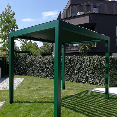 BIOCLIMATIC PERGOLA AGAVA – 10 bioclimatic pergolas for 10 brand new villas in Ljubljana, custom solution in cooperation with architect. SLOVENIA. Production and installation.