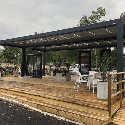BIOCLIMATIC PERGOLA AGAVA XL – custom solution for CAMPING RESORT – in cooperation with distributer. SWEDEN. Production & supply.