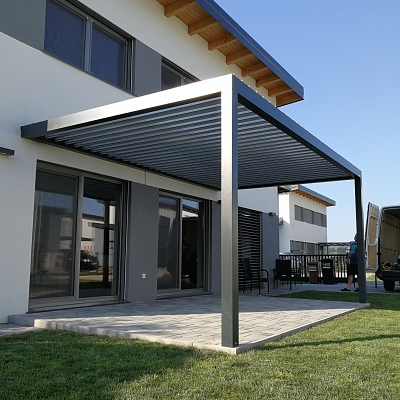 BIOCLIMATIC PERGOLA AGAVA 160/28 – custom solution in cooperation with distributer. Production, supply.