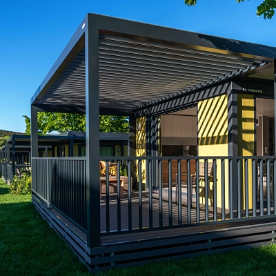 MOBIL HOME SOLUTION, 25 x BIOCLIMATIC PERGOLA AGAVA SL 160/28 – development, production, supply and installation.