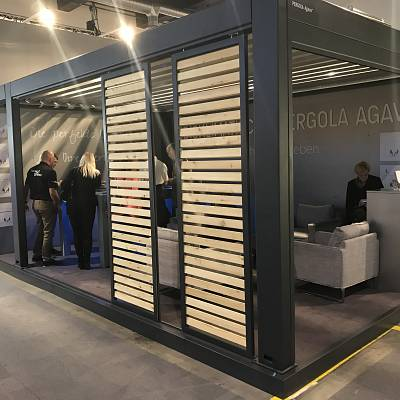 BIOCLIMATIC PERGOLA AGAVA – show model 2017 – GIARDINA Zurich. SWITZERLAND. Production, supply, installation.
