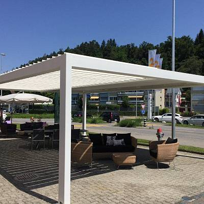 BIOCLIMATIC PERGOLA AGAVA – showroom model. SWITZERLAND. Production, supply.