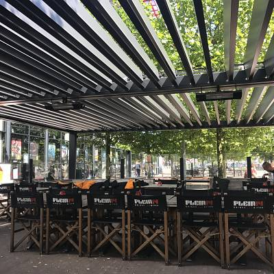 PROJECT RESTAURANT IN AMSTERDAM. Bioclimatic pergola Agava XL. Customized solution in cooperation with our distributer. Production, supply.