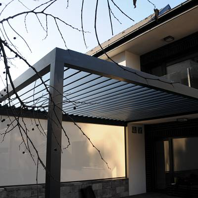 BIOCLIMATIC PERGOLA AGAVA – custom solution in cooperation with distributer. HUNGARY. Production & supply.
