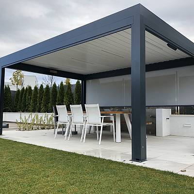 BIOCLIMATIC PERGOLA AGAVA SL – 160/28 – 2780 x 5807 x 3000, custom solution – in cooperation with distributer. SLOVAKIA. Production & supply.