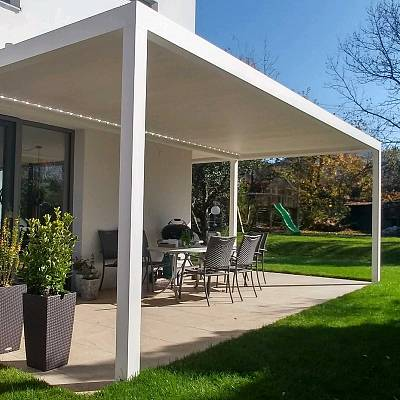BIOCLIMATIC PERGOLA AGAVA SL – 160/28, custom solution – in cooperation with distributer. AUSTRIA. Production & supply.
