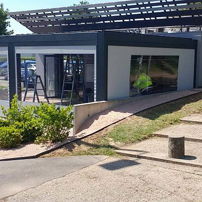 BIOCLIMATIC PERGOLA AGAVA XL, custom solution for restaurant in Paris – in cooperation with distributer. FRANCE. Production & supply.