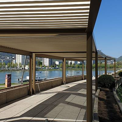 BIOCLIMATIC PERGOLA AGAVA SL, custom solution – in cooperation with distributer. AUSTRIA. Production & supply.